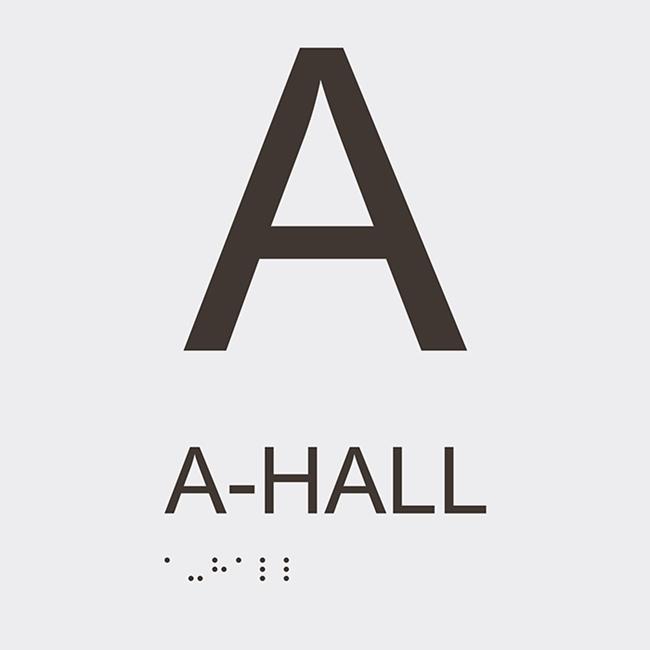 Informationsskylt A hall vit