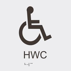 Informationsskylt HWC blindskrift vit