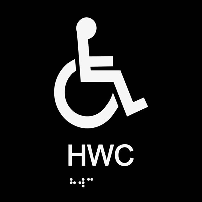 Informationsskylt HWC blindskrift