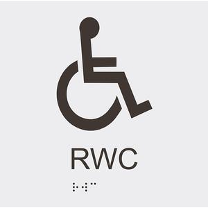 Informationsskylt RWC blindskrift vit