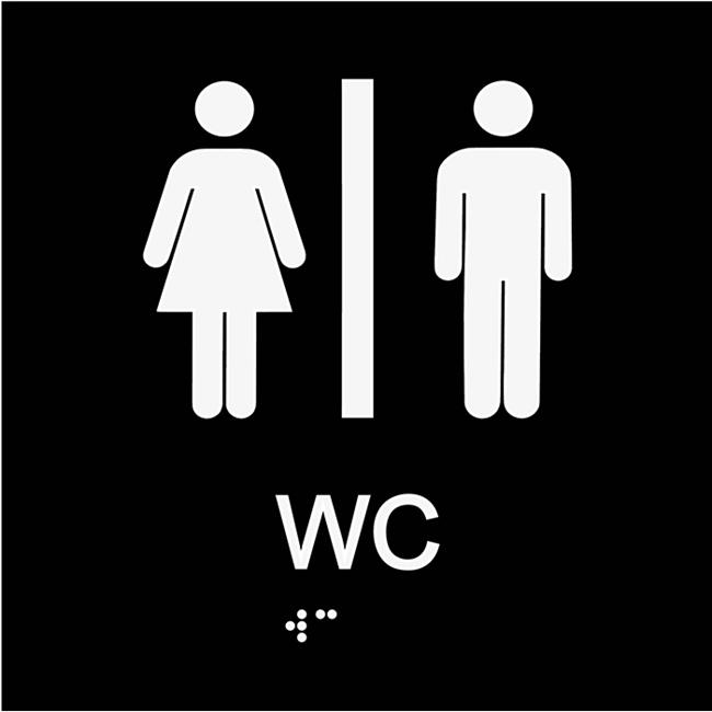 Informationsskylt WC blindskrift