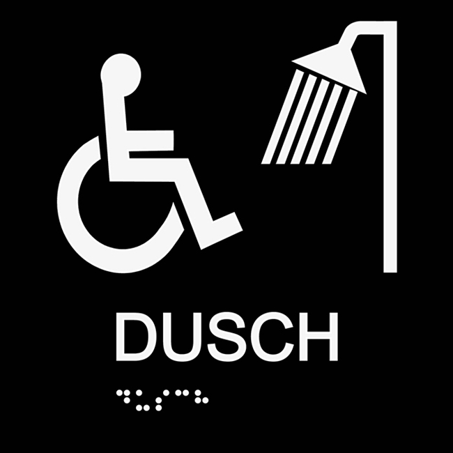 Informationsskylt duschrum handikapp svart