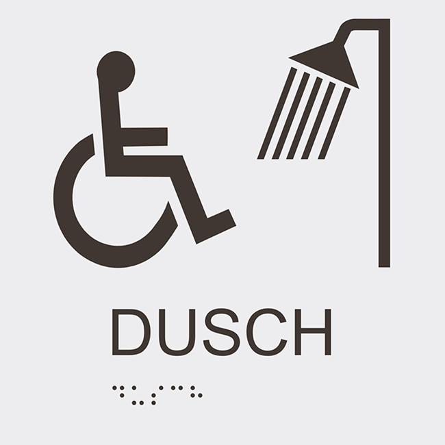 Informationsskylt duschrum handikapp vit