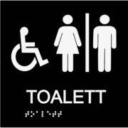 Informationsskylt handikappstoalett blindskrift