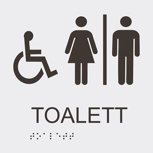 Informationsskylt handikappstoalett blindskrift vit