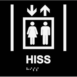 Informationsskylt hiss svart