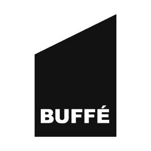 fasadflagga med texten Buffé