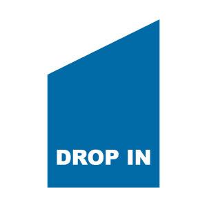 Fasadflagga blå med vitt tryck drop in