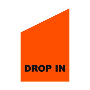 Dropin-flagga orange med vit text