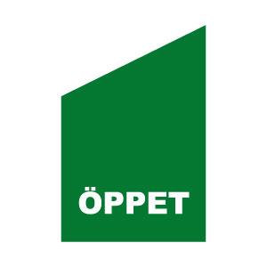 Grön och vit flagga för fasadad text öppet