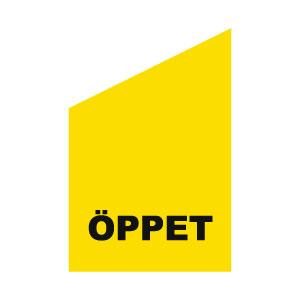 kioskflagga med texten öppet gul och svart