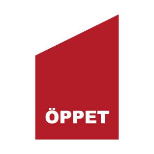 fasadflagga med texten öppet röd och vit