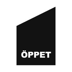 klassiska öppetflagga för fasad och kiosk svart med vit text