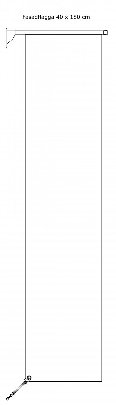Rektangulär fasadflagga 40 x 180 cm