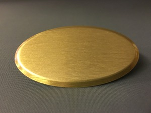 Namnbricka oval borstad guld