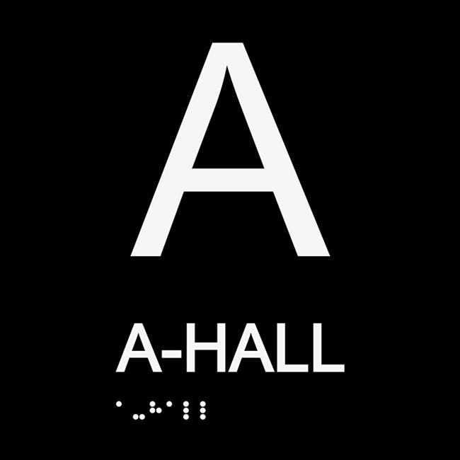 Informationsskylt A hall svart