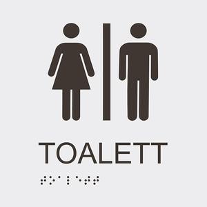 Informationsskylt toalett blindskrift vit